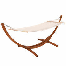 """New Outdoor Wooden Curved Arc Hammock Stand with Cotton Hammock 123""""X46""""... - $215.99"""