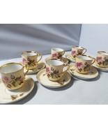T English Fine Bone China Tea Set 7 Teacups 10 Saucers Floral Gold Trim ... - $41.84