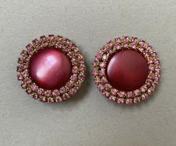 Vintage Big Round Pink Rhinestone Clip On Earrings Pearlescent Plastic G... - $22.14