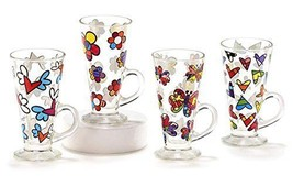 Romero Britto Glass Latte Mugs With Decals Assortment Set of 4 - $89.99