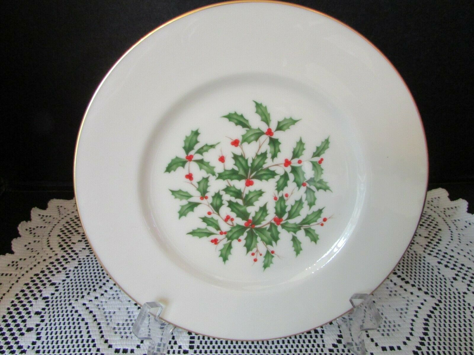 "LENOX CHINA HOLLY & BERRY SALAD PLATE 8-1/4"" DIMENSION COLLECTION USA  ""SPECIAL"""