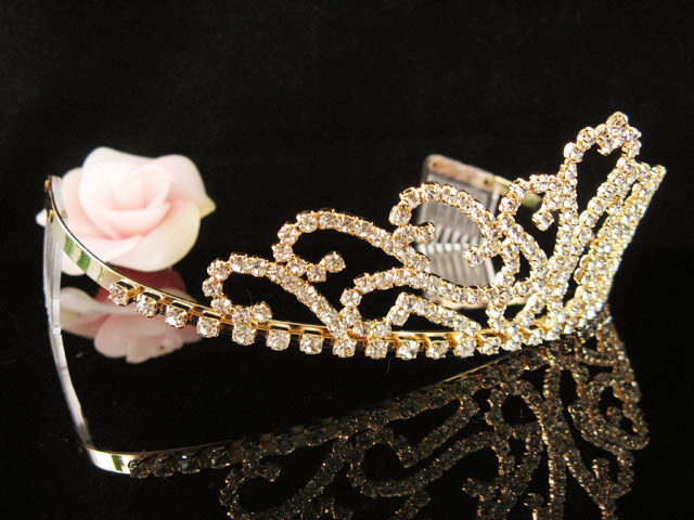 GLAMOUR GOLDEN WEDDING CRYSTAL TIARA,RHINESTONE HEADPIECE,BRIDAL ACCESSORY 8520g