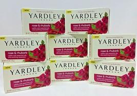 8 BARS Yardley London Soaps Rose & Rhubarb Bath Bar Soap 4.25 Oz Each NEW SEALED - $29.69