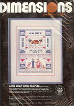 """Dimensions Home Sweet Home Counted Cross Stitch Sampler Kit No. 3608 11""""x14"""" NIP - $21.55"""