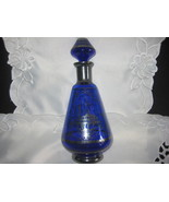 cobalt blue decanter with silver overlay stunning - $80.00