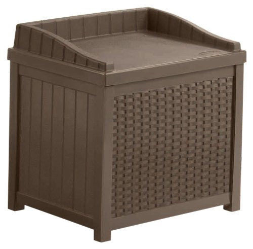 Brown Resin Wicker 22 Gallon Storage Seat Patio Deck Box Bench Outdoors Chair