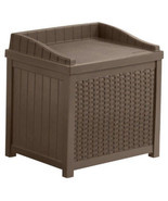 Brown Resin Wicker 22 Gallon Storage Seat Patio Deck Box Bench Outdoors ... - $53.99