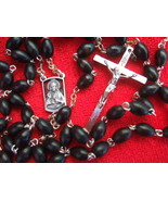 Catholic Rosary BLACK WOOD 5x7mm Beads Sacred Heart center medal - $16.82