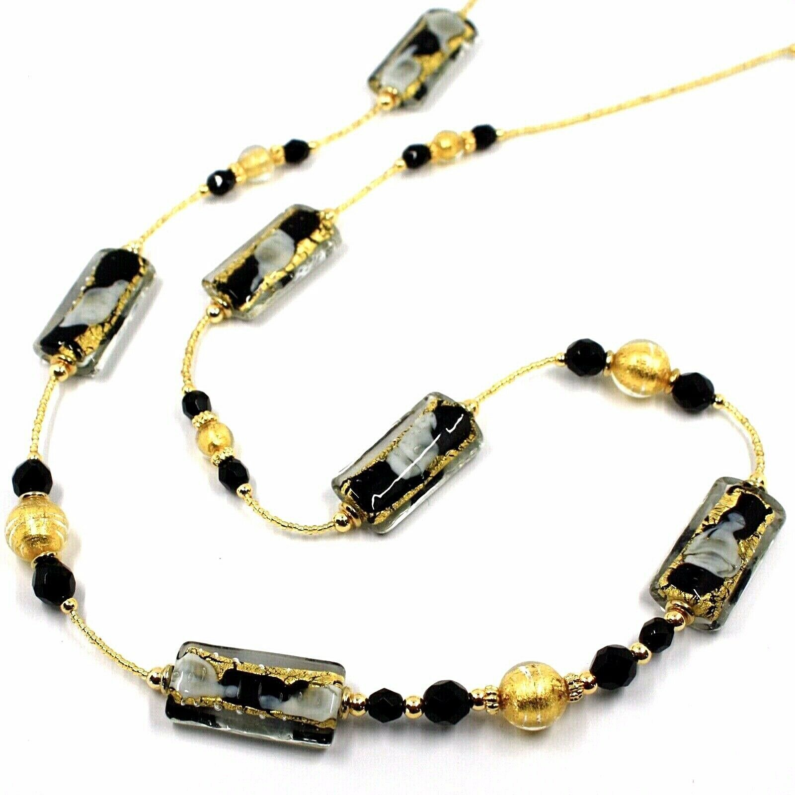 LONG NECKLACE BLACK MURANO GLASS RECTANGLE TUBE, SPHERE, GOLD LEAF, ITALY MADE