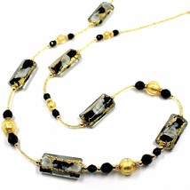 LONG NECKLACE BLACK MURANO GLASS RECTANGLE TUBE, SPHERE, GOLD LEAF, ITALY MADE image 1