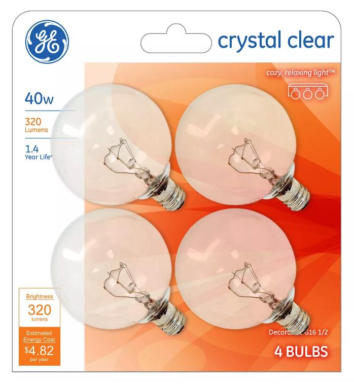 4 GE 40-Watt G16 1/2 Crystal Clear Globe Bulbs w/Candelabra Base - 320 Lumens