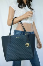 NWT MICHAEL KORS KIMBERLY SIGNATURE PVC LEATHER LARGE BONDED TOTE BAG NAVY - $94.04