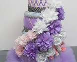 Pink , Lilac Purple and Silver Theme Baby Girl Shower , 4 Tier Tutu Diaper Cake - $74.18 CAD