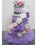 Pink , Lilac Purple and Silver Theme Baby Girl Shower , 4 Tier Tutu Diap... - $80.00
