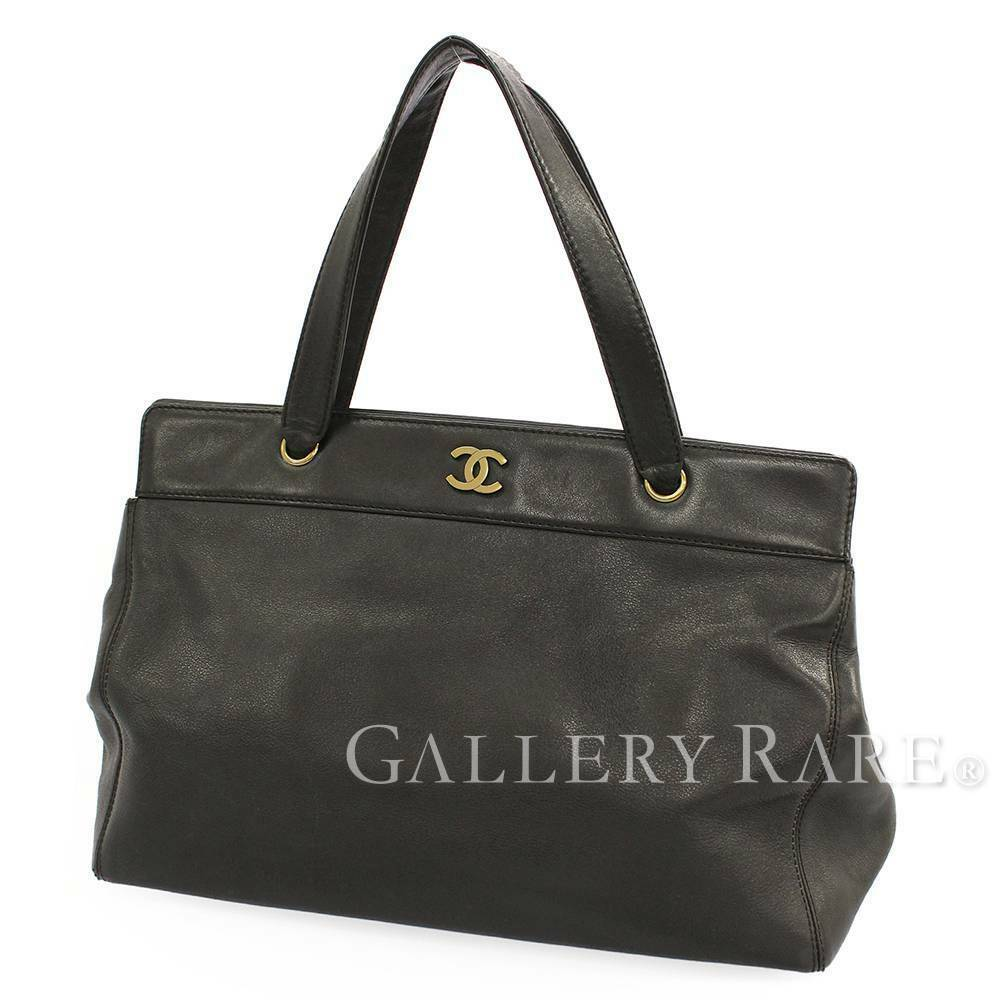 CHANEL Tote Bag Calf Leather Black CC Logo Gold Hardware Italy Authentic 5473144
