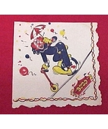 Bozo Circus Clown Party Napkin 1950s 1960s Vintage - $5.00