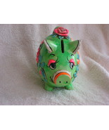 "Vintage  ""Holiday Fair"" Green Piggy Bank - $10.00"