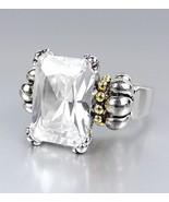 Designer Style Emerald-cut Clear Quartz CZ Crystal GLACIER Caviar Ring - $24.99