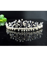 WEDDING HAIR ACCESSORIES SILVER CRYSTAL BRIDAL TIARA, HANDMADE PEARL REGAL 10563 - $26.00