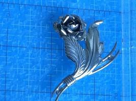 VINTAGE STERLING SILVER SIGNED FLOWER ROSE PIN 12.1gr - $29.69