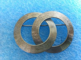 VINTAGE DOUBLE CIRCLE MODERNIST STERLING SILVER WRE PIN - $19.79