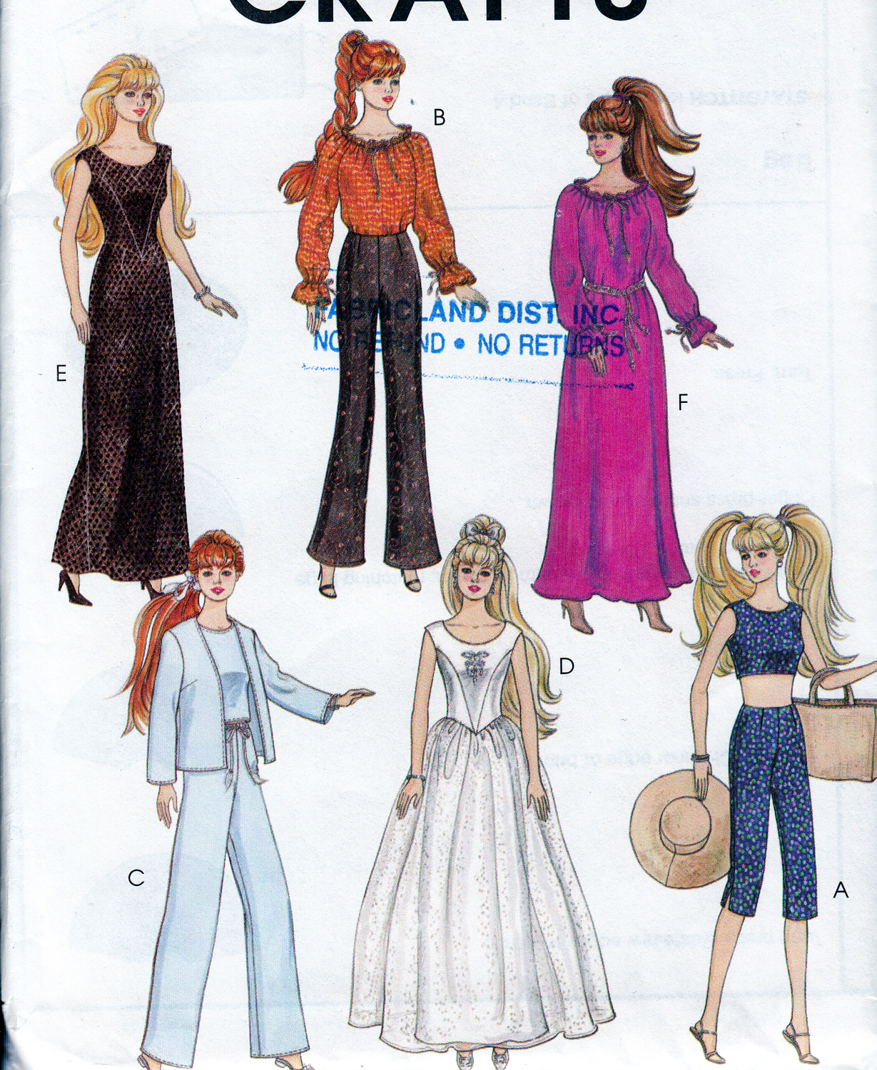 "Primary image for 11.5"" BARBIE COMPLETE WARDROBE DRESSES PANTS TOP+  DOLL PATTERN MCCALLS 4064 00P"