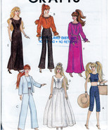 "11.5"" BARBIE COMPLETE WARDROBE DRESSES PANTS TOP+  DOLL PATTERN MCCALLS 4064 00P - $11.98"