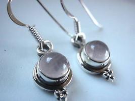 New Very Small Rose Quartz 925 Silver Dangle Earrings - $15.82