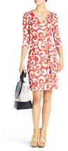 Diane Von Furstenberg Julian Spiral Ferns Coral Wrap Size  10 - $249.99