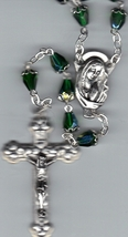 Rosary - Green Tear Drop  Aurora Borealis Bead with  capped beads -  MB8/G