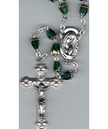 Rosary - Green Tear Drop  Aurora Borealis Bead with  capped beads -  MB8/G - $17.99