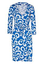 Diane Von Furstenberg Julian Spiral Ferns Blue Wrap Size  10 - $249.99