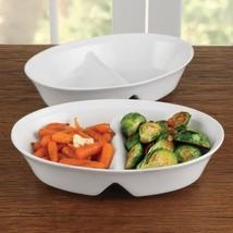 BIA White Porcelain 10.5 Inch Divided Serving Platter
