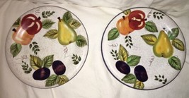"Oneida Vintage Fruit Hand Painted Dessert Plates 8"" EUC Multi-colored set of 2 - $15.83"