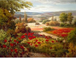 Distant Hills by J. Price European Tuscan Poppies Trees Landscape Canvas Giclee - $345.51