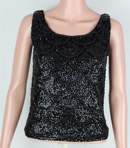 Vintage Jo-Ro import women's blouse black sequin beaded Hong Kong size S - $50.00