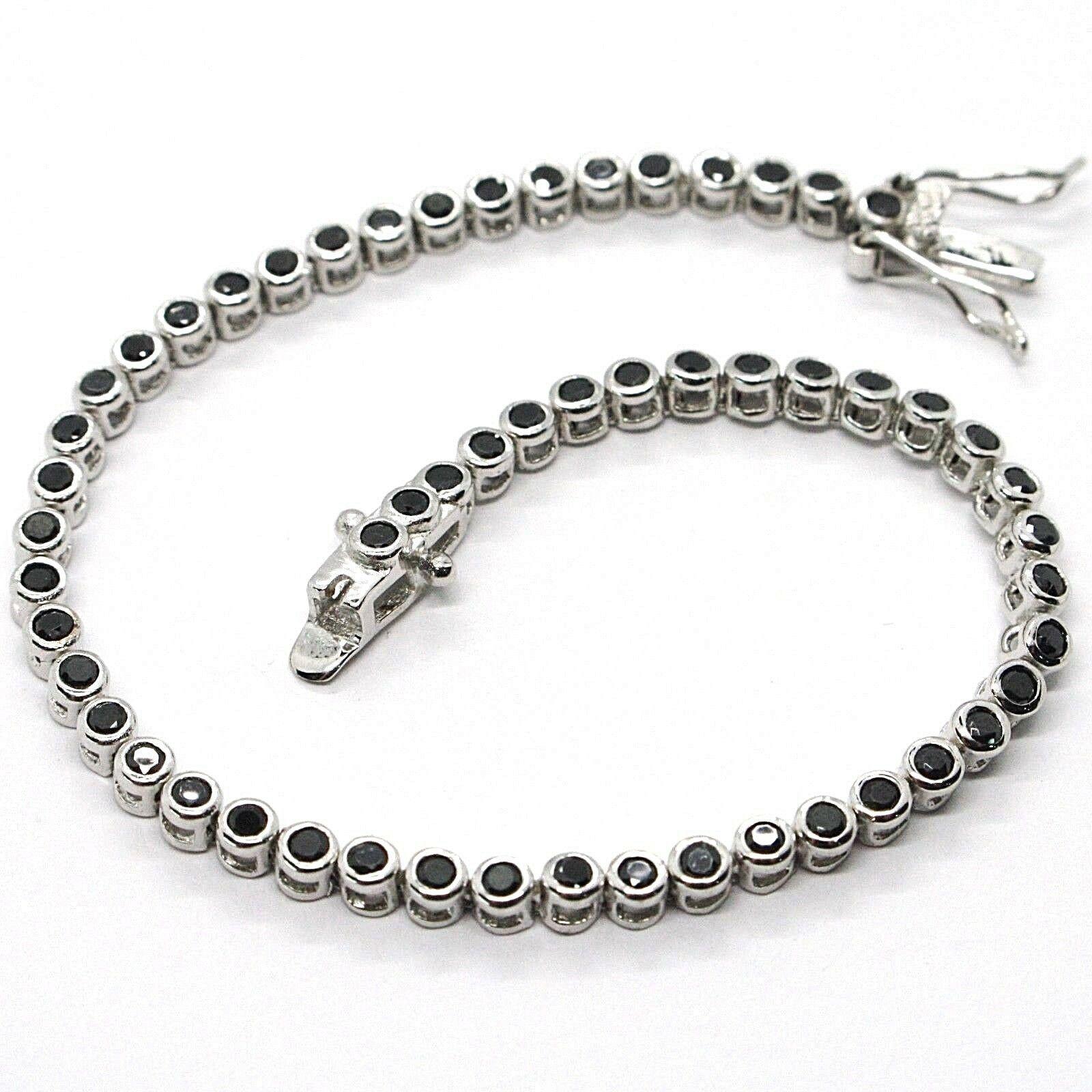 Tennis Bracelet, Silver 925, Zircon Cubic Black, Brilliant Cut, 3 MM