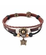 Infinite Memories Gypsy Boho Hippie Bohemian Butterfly Flower Leather Br... - $9.17