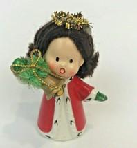 Vintage Napcoware Angel Figurine Caroling Christmas Bell Yarn Hair 9750 ... - $14.84