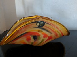 Murano White Cristal Bowl Italy--Yellow/Orange/Blue/Green rare, unique colors - $35.96