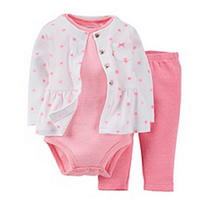 Carter's Baby Girls' 3-Piece Dot Cardigan Set, Pink/white,Size 9 Months,MSRP $28 - $15.83