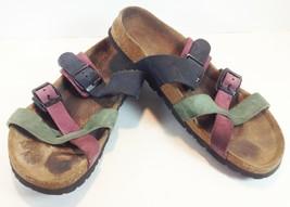 BIRKENSTOCK Tatami Triple Strap Slide Sandals Sz US8 UK6 Multi Color Ger... - £12.71 GBP