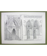 ARCHITECTURE PRINT : GOTHIC PORTALS Lisieux & Bayeux Cathedrals France - $12.15