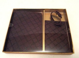 NEW Eccolo Faux Leather Passport Holder Luggage Tag Set Dark Brown Burgundy - $19.34