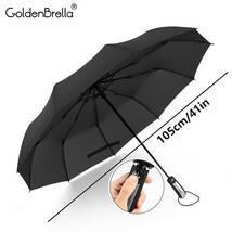 GoldenBrella® 10Rib Wind Quality Resistant 3 Fold Umbrella Rain Women - $18.32
