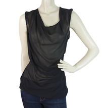 Helmut Lang Black Silk Draped Sheer Tank Sleeveless Top size S - $123.75
