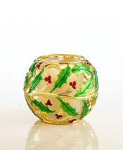 Lenox Holiday Gold Metal Holly green & red votive NEW in Box - $14.95