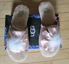 UGG Slippers Sandal Pretty Slide Shearling Flower Pom Pom Size 7 - $84.99