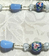 """Bee on Flower Pendant Lampwork and Milky Blue Glass Beaded Necklace 21""""  (#24) image 3"""