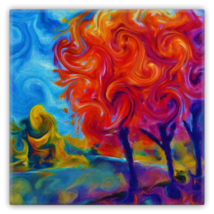 Whimsical Trees Painting Swirl Metal Magnet - $11.88
